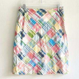 BROOKS BROTHERS colorful plaid patchwork skirt sz6